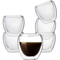 UMIZILI 6 oz Double Wall Glass Mugs, Set of 6, Cute Insulated Coffee Cups, Perfect Size for Espresso Latte, Cappuccino, Clear