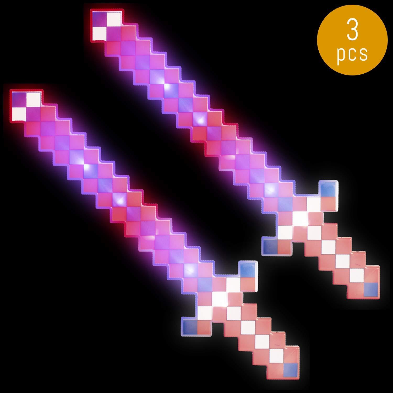 Lumistick LED Light Up Diamond Pixel Sword 24 Inch   Multicolor Ultra Bright Flashing Light Motion Activated Dagger Blade Glowing Illuminates Sword (3 Swords, Red, White & Blue)