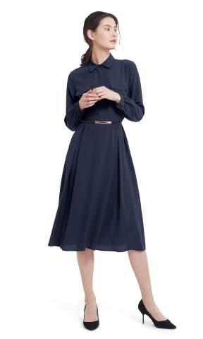 LilySilk Red Silk Dress for Women Long Sleeve Retro Graceful with Belt Shirt Dress Ladies