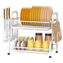 Dish Drying Rack, Veckle 2 Tier 304 Stainless Steel Dish Rack Dish Drainer with 3 Removable Drain Board Utensil Holder Cutting Board Holder Dish Drainer for Kitchen Countertop, White