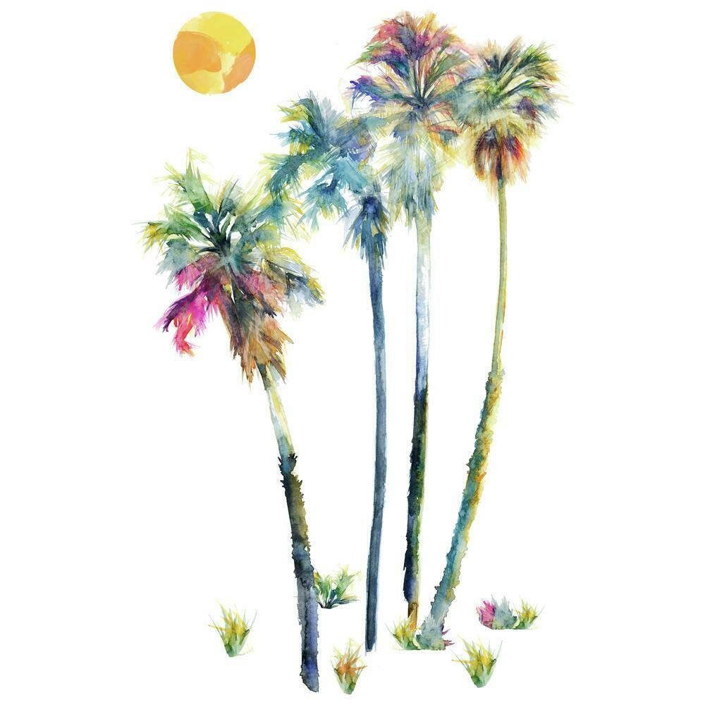 RoomMates Watercolor Palm Trees Peel And Stick Giant Wall Decals