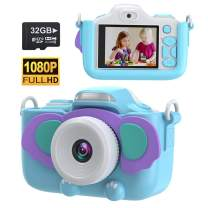 Kids Digital Camera, Children Video Camera Birthday Toy Gift for Age 3-12 Boys Girls, Shockproof Kid Action Camera Toddler Video Recorder 1080P HD 12MP with 2.4 Inch IPS Screen, 32GB SD Card (Blue)