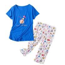 MIA LUCCE Women's Sleepwear -Cute Print Cotton Tops with Capri Pants Pajama Sets