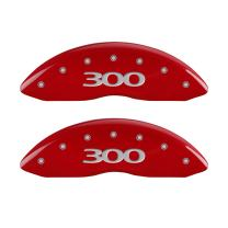 MGP Caliper Covers (32020S300RD) '300' Engraved Front and Rear Caliper Cover with Red Powder Coat Finish and Silver Characters, (Set of 4)
