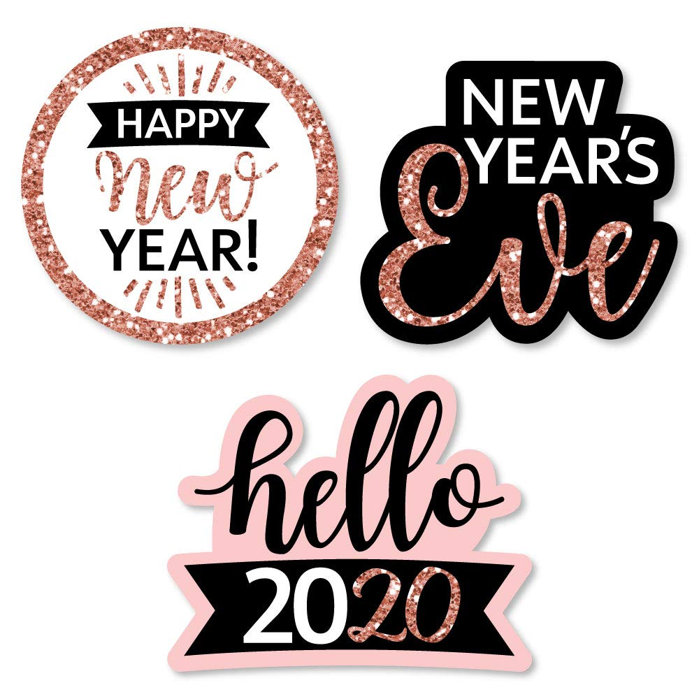 Big Dot of Happiness Rose Gold Happy New Year - Diy Shaped 2020 New Year's Eve Party Cut-Outs - 24 Count