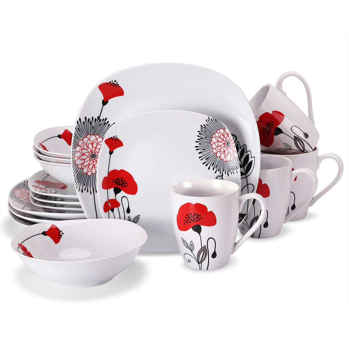 Doublewhale 16-Piece Dinnerware Set, Square Dinner Plates Dishes, Bowls, Dishes, Mugs Sets, Service for 4 - Red