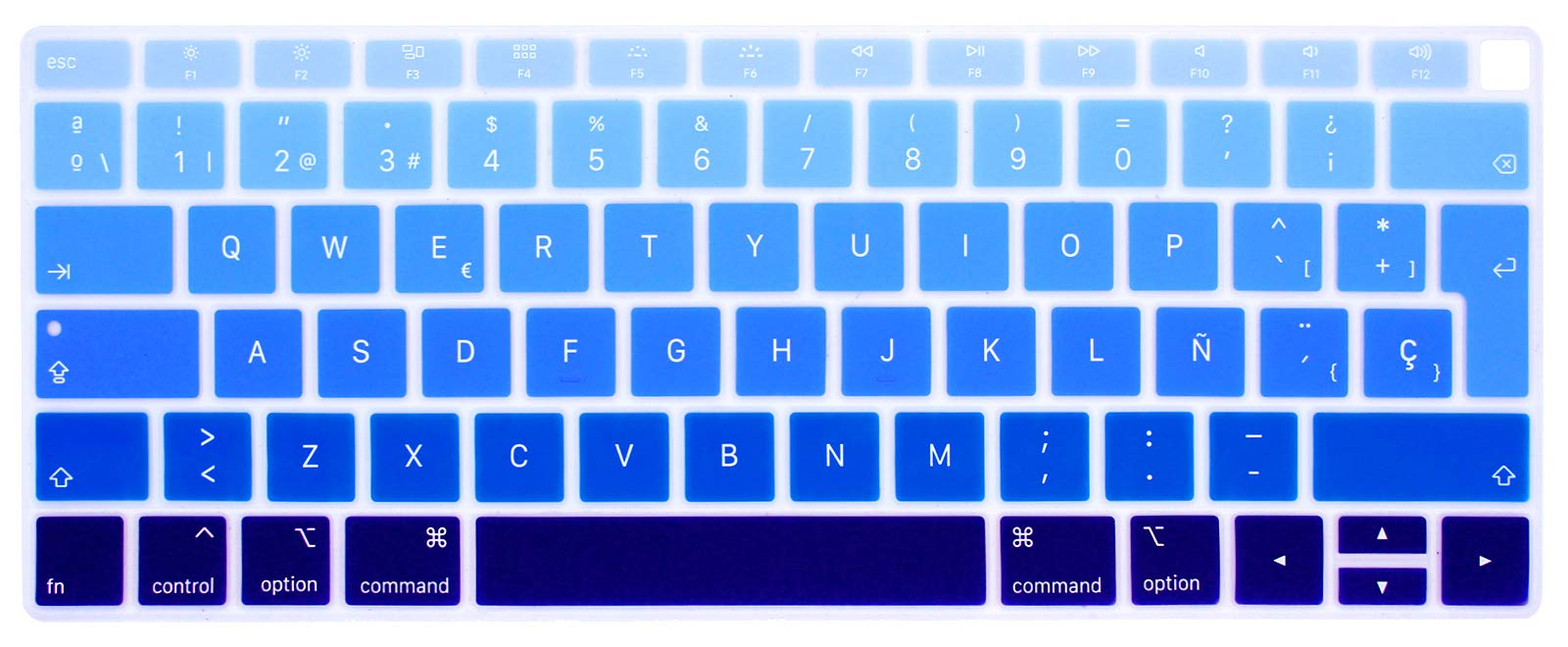 HRH Spanish Language Silicone Keyboard Cover Skin for MacBook Newest Air 13 Inch 2018 Release A1932 with Retina Display and Touch ID,European Layout-Ombre Blue