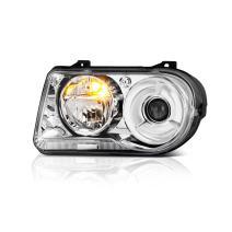 VIPMOTOZ Chrome Housing OE-Style Projector Headlight Headlamp Assembly For 2005-2010 Chrysler 300C Halogen Model, Driver Side