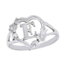 CaliRoseJewelry Silver Initial Alphabet Personalized Heart Ring - Letter E