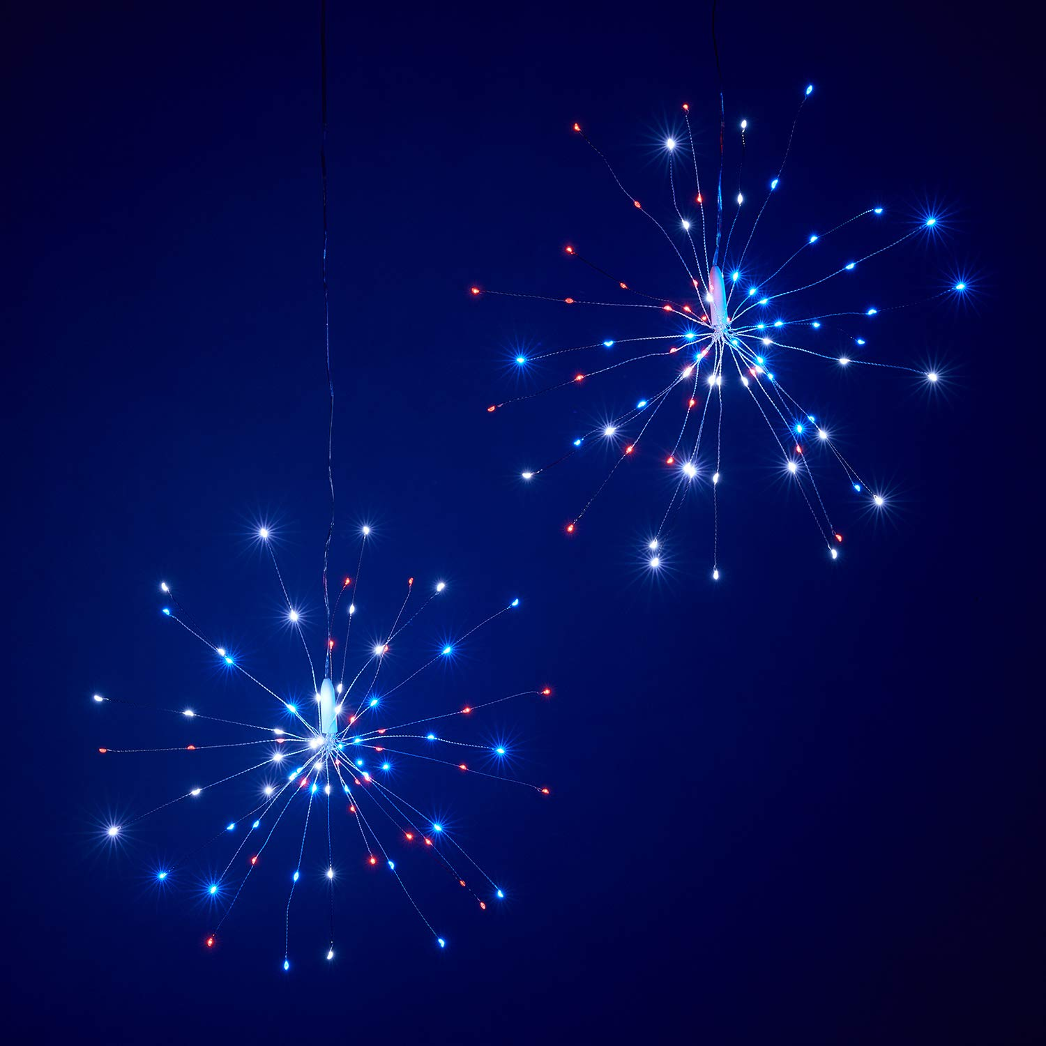 Lights4fun, Inc. 2 Pack of Red, White & Blue Micro LED Battery Operated Indoor & Outdoor Hanging 4th July Firework Starburst Lights