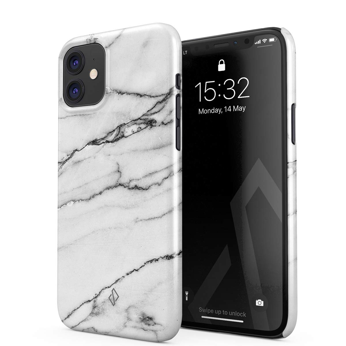 BURGA Phone Case Compatible with iPhone 11 - Silver Flakes Grey White Marble Cute Case for Girls Thin Design Durable Hard Shell Plastic Protective Case