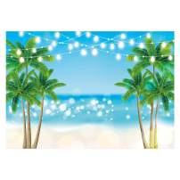 Funnytree 7x5ft Summer Tropical Beach Backdrop Glitter Bokeh Seaside Island Palm Trees Photography Background for Picture Shiny Blue Sea Sky Luau Themed Party Decorations Photo Booth Studio Props