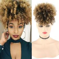 LEOSA Wig Afro Puff Drawstring Ponytail Bun with Bangs Heat Resistant Synthetic Short Kinky Curly Ponytail Updo Hair Extensions with Two Clips,Natural looking Curly Women Hairpieces (#1B/27)