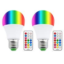 Bonlux LED Color Changing Light Bulbs - 10W A19 E26 Dimmable RGBW LED Bulb with Remote Control, Memory & Timer Function, RGB + Warm White 3000K, Decorative Light, Mood Light for Stage Party (2-Pack)