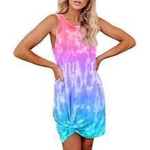 Meenew Women's Casual Sleeveless Tank Dress Knot Front Tie Dye T Shirt Dress