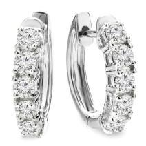 Dazzlingrock Collection 18K Round Gemstone Ladies Huggies Hoop Earrings, White Gold