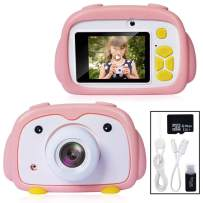 Joytrip Digital Kids Camera 12.0MP FHD 1080P Video Resolution Mini Rechargeable Camera for Boys Girls Ages 3-12 Child Selfie Camera Camcorder with Silicone Case(16G Card Pink Penguin)