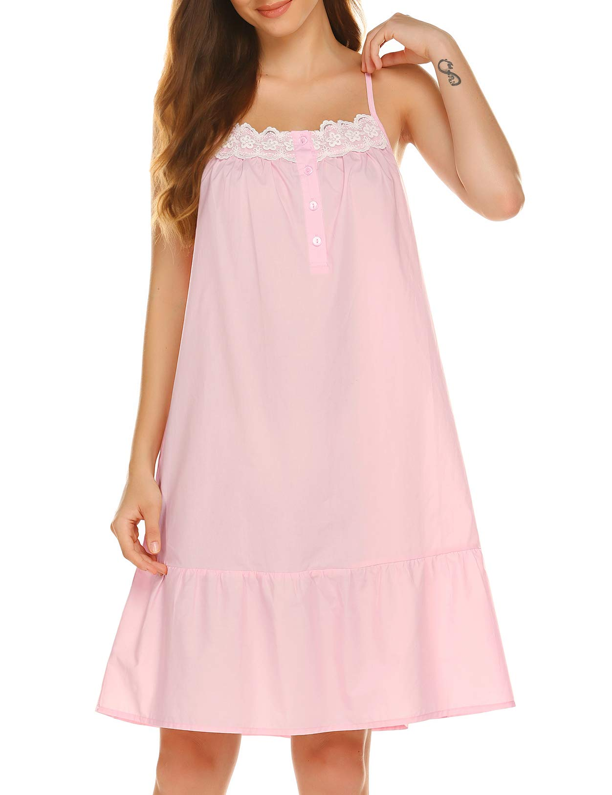 Ekouaer Sleepwear Sleeveless Nightgown Cotton Sleep Dress Victorian Sleepshirt Strap Gown for Women S-XXL