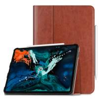 """Fintie Folio Case for iPad Pro 12.9"""" 3rd Gen 2018 [Supports 2nd Gen Pencil Charging Mode] - Vegan Leather Folio Smart Stand Cover with [Secure Pencil Holder] Auto Sleep/Wake, Brown"""