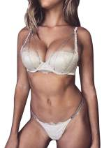 PARTY LADY Women Sexy Lace Lingerie Set,Push Up Bra and G-String Corset with Garter Belt 3 Piece Bra Set Size L Silver