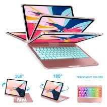"iPad Pro 11"" Keyboard Case - 7 Colors Backlight LED Lights Keyboard Case - Wireless & Bluetooth Keyboard - 360 ° Rotation & 180 ° Flip - Wake & Sleep - Supports Apple Pencil Charging (Rose Goid)"