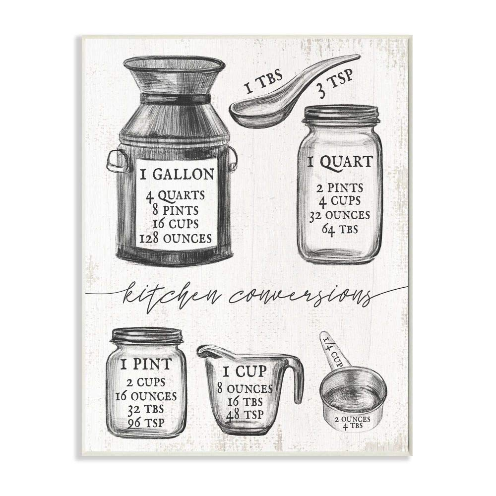 Stupell Industries Kitchen Conversion Chart Neutral Grey Word Drawing, Design by Artist Daphne Polselli Wall Art, 10 x 15, Wood Plaque
