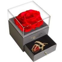SWEETIME Red Rose Gift Box Enchanted Real Rose with Ruby Rose Brooch, Eternal Rose Flower in Jewelry Box, Handmade Preserved Rose,Forever Red Rose Gift for her On Mother's Day, Anniversary.