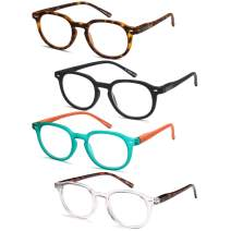 Gamma Ray Reading Glasses - 4 Pairs Spring Hinge Round Mens and Womens Readers