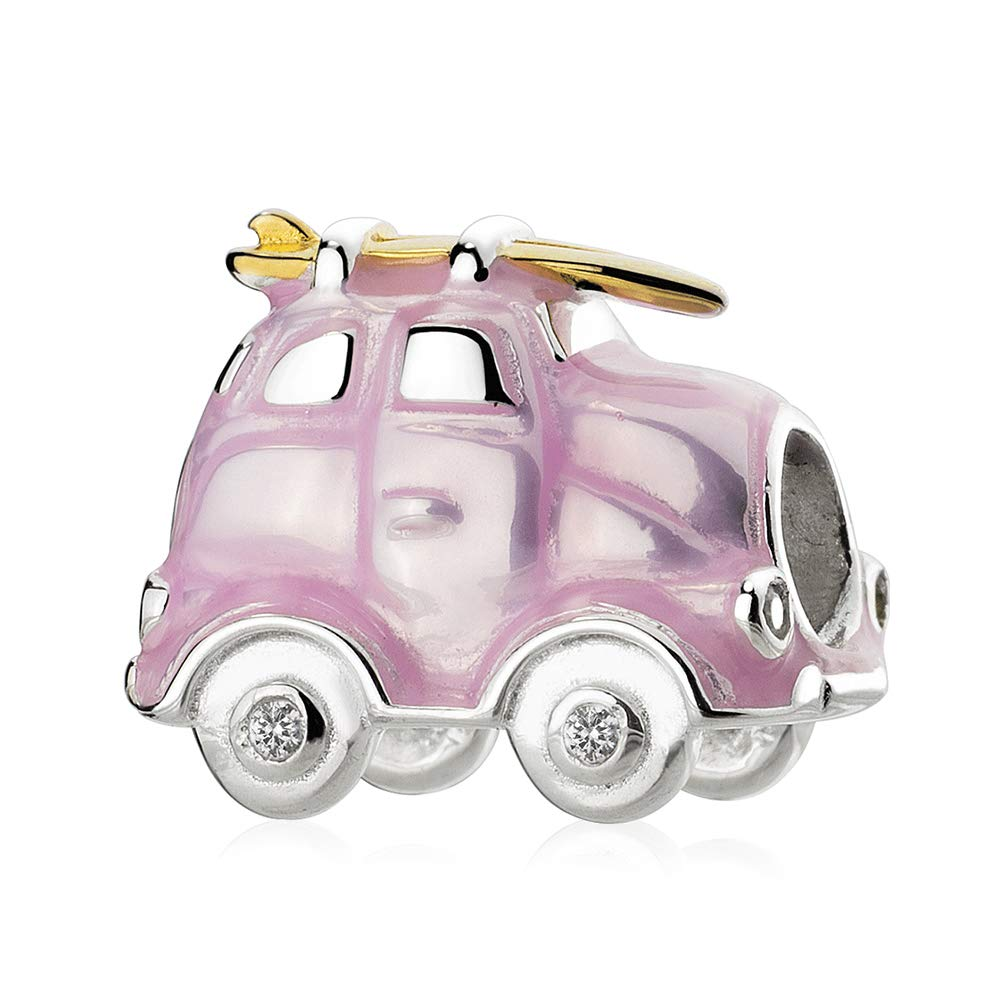 ATHENAIE 925 Sterling Silver Pink Enamel Travel Camper Van Charms for Bracelet