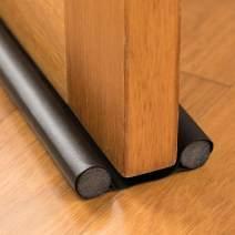 BesPart PU Window Door Draft Stopper Creative Double Draft Guard for Door Sound Noise Proof Reduce Door Drafts Blocker Black