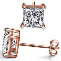 14k Gold Plated 925 Sterling Silver Stud Earrings 4 Prong Princess Cut Square Cubic Zirconia Slumlated Diamond Stud Earrings for Women Men Girl