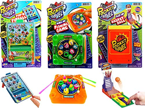 JA-RU Pocket Games Kid Travel Toys Bundle Set (3 Games) Mini Games for Kids Pocket Pinball, Finger Basketball & Magnetic Fishing. Fidget Toys, Party Favors ADD ADHD, Stress Toys. 3255-3258-3205p