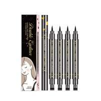 FITDON 4pcs Double-sided Liquid Eyeliner Pen Stamp, Super Slim Gel Felt Tip High Pigment Black, Waterproof Smudge-proof Long Lasting Tattoo Makeup Tool