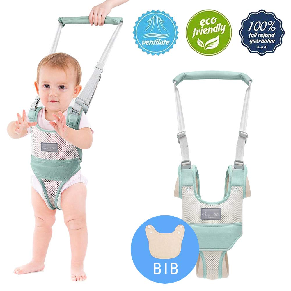 Baby Walking Assistant,Autbye Adjustable Toddler Walking Harness Handle Baby Walker with Detachable Crotch & Bib,Breathable and Comfortable for Toddlers Infant Learning to Walk (Green-A)