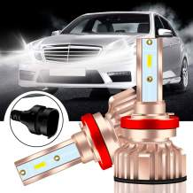 KaiDengZhe H8 H9 H11 Super Bright LED Headlight Bulb Xenon White 85W 6000K Car LED Front headlights bulb Halogen Headlight Replacement Low/High Beam Conversion Kit with Cooling Fan(pack of 2)