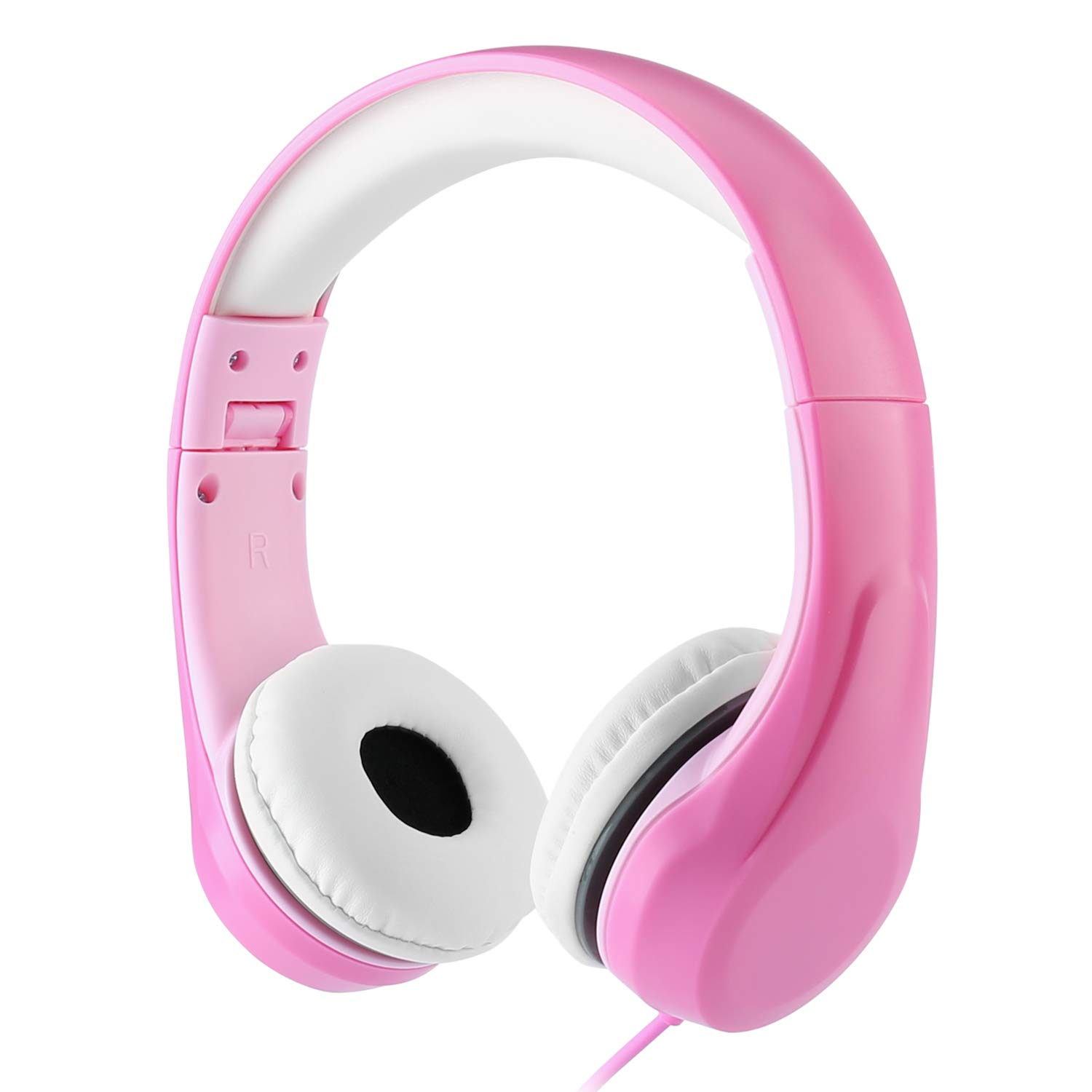 [Volume Limited] LINKWIN Kids Safety Foldable Stereo Headphones,3.5mm Jack Wired Cord Earbuds, Volume Controlled at 85dB On/Over Ear Children Toddler Headset, for iPad Kindle Airplane School, Pink