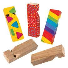 Baker Ross Wooden Railroad Whistle (Pack of 5) Wood Noisemakers Perfect for Kids Goodie Bags, Party Favors, Pinata Filler or Train Birthday Presents