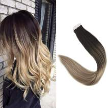 """Full Shine 16"""" Balayage Tape In Hair Extensions Ombre Color #1b Off Black Fading to Color #8 Light Brown and Color #24 Light Blonde Real Straight Human Hair Skin Weft Extensions 20 Pieces 50g/ Package"""