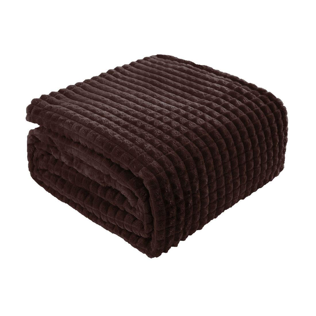 """uxcell Solid Flannel Fleece Throw Blanket,Lightweight Soft Decorative Blanket with Grid Pattern,Luxury Microfiber Plush Blanket for Sofa Couch, 50""""x 60"""", Coffee Color"""