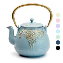 Tea Kettle, TOPTIER Japanese Cast Iron Tea Kettle with Infuser for Loose Leaf and Tea Bags, Stovetop Safe Cast Iron Teapot Coated with Enameled Interior for 40 oz (1200 ml), Turquoise Blue