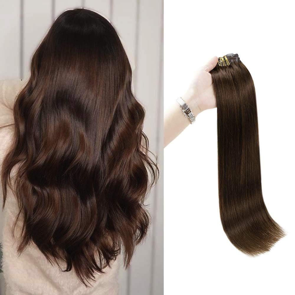 Full Shine 7A Grade PU Clip In Human Hair 20 Inch Seamless Brazilian Hair Clip In Hair Extensions 100 Gram Full Head Skin Weft Clip Hair, 8 Pcs Medium Brown Color 4 Clip On Extensions Real Hair