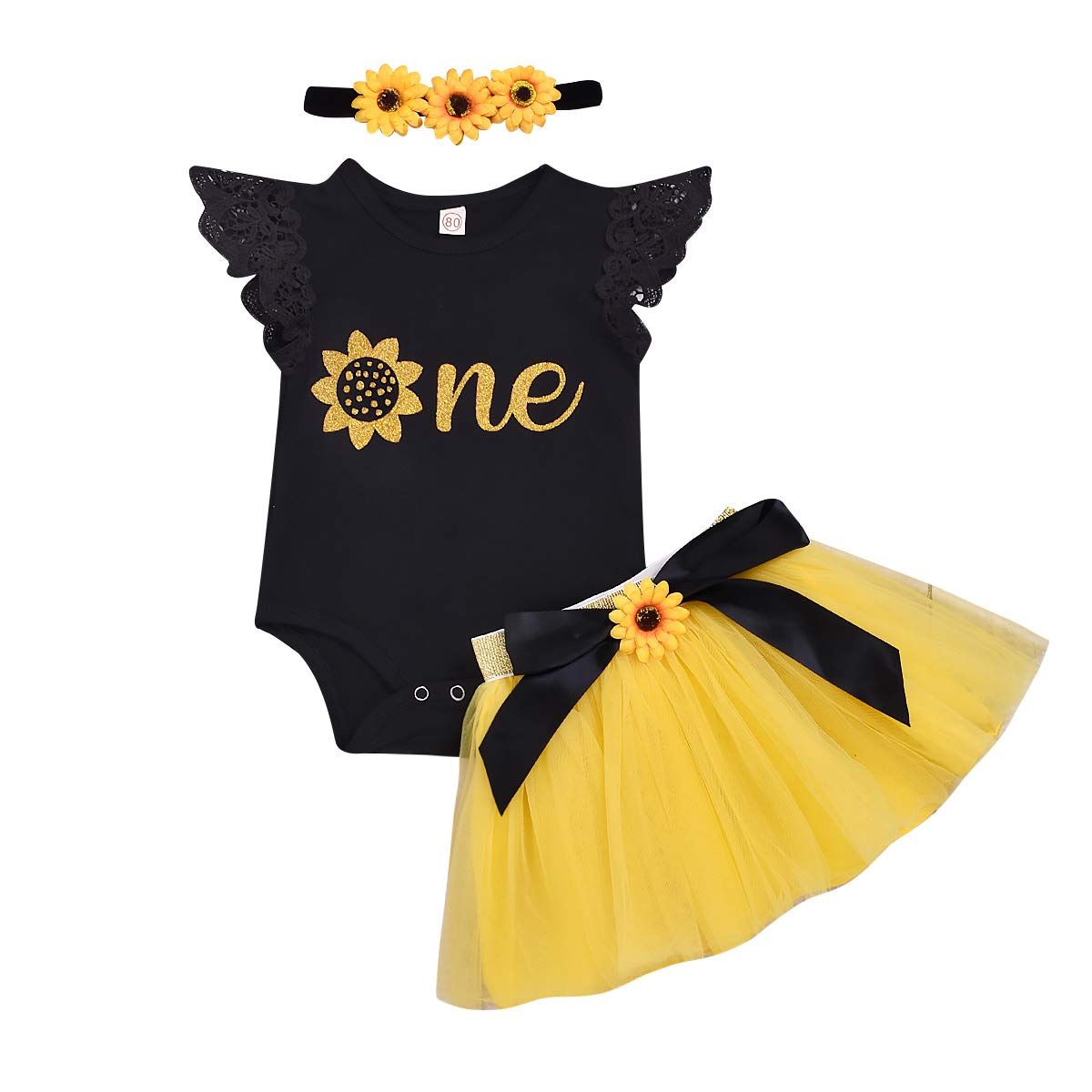 Newborn Infant Baby Girl Clothes My 1st Birthday Ruffle Romper Tops Tutu Skirt Princess Cake Smash Party Dress Outfit