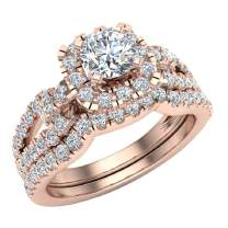 Wedding Ring Set for Women Accented Diamond Loop Shank 1.00-1.05 ctw Carat 14K Gold (G, SI)