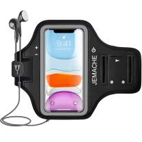 """iPhone 11, XR Armband, JEMACHE Water Resistant Gym Running Workouts Exercises Arm Band Case for iPhone 11 / iPhone XR (6.1"""") with Key Holder (Black)"""