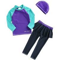 Vivobiniya Kid Swimsuits Two-Piece Long Sleeve Swimwear Upf50+ 3-7T