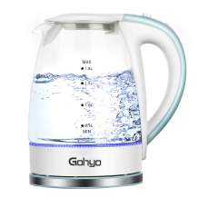 Gohyo Electric Glass Kettle, 1.8 Liter Water Heater with Speed Boil Tech, LED Indicator Light, Auto Shut off and Boil-Dry Protection for Tea Coffee, Oatmeal (BPA-Free)