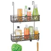 mDesign Wide Decorative Metal Over Shower Door Bathroom Tub & Shower Caddy, Hanging Storage Organizer Center - Built-in Hooks, Baskets on 2 Levels for Shampoo, Body Wash, Loofahs - Bronze