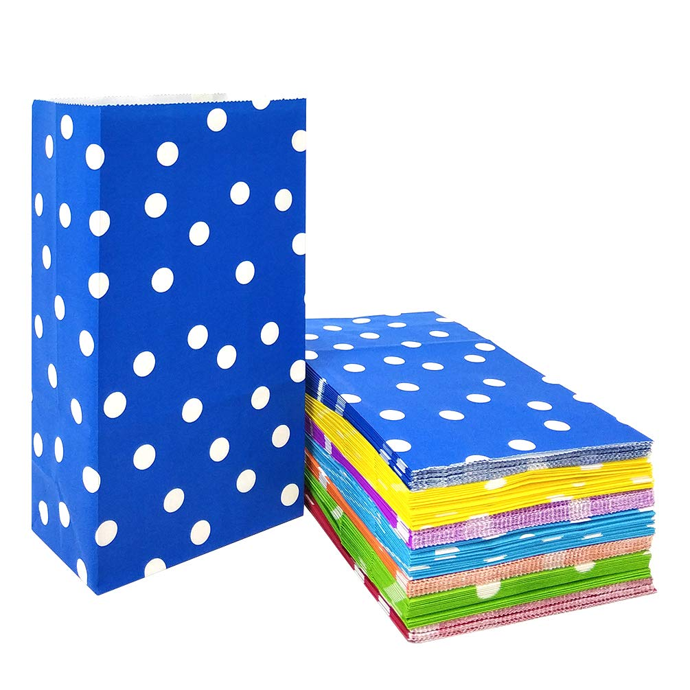 49 PCS Paper Party Favor Bags Bright Colored Paper Lunch Bags for Kids' Birthday Wedding Baby Shower Party Supplies by ADIDO EVA (5.1 x 3.1 x 9.4 in Rainbow Color)