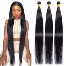 Maxine Hair 10A Brazilian Virgin Straight Hair 3 Bundles 100% Unprocessed Long inch Human Hair Weave Extensions Natural Color Can Be Dyed and Bleached (36''&38''&40'')