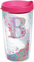 Tervis INITIAL-B Botanical Insulated Tumbler with Wrap and Fuschia Lid, 16oz, Clear
